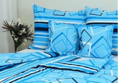 8-dílné povlečení s polštářky Modré obrazce (bavlna LUX)