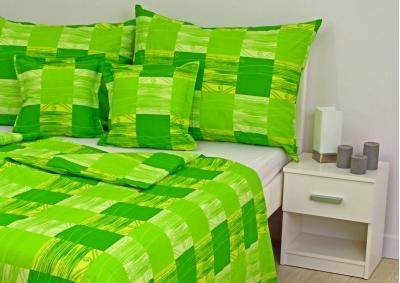 8-dílné povlečení s polštářky Zelená kostka (bavlna LUX)