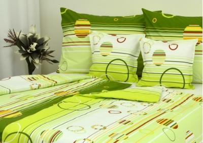 8-dílné povlečení s polštářky Zelená kolečka  (bavlna LUX)