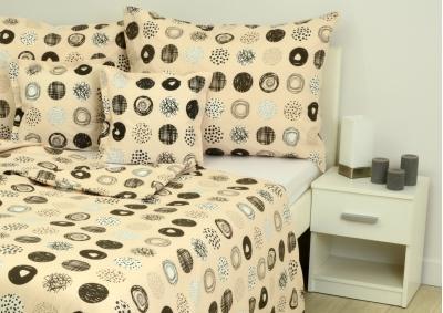 8-dílné povlečení s polštářky Béžová s černým ornamentem (bavlna LUX)
