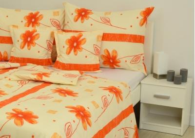 8-dílné povlečení s polštářky Oranžová květina (bavlna LUX)