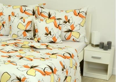 Bavlněné povlečení LUX Béžová s oranžovou kytkou