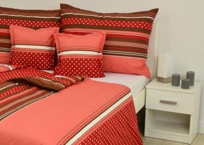 8-dílné povlečení s polštářky Červený puntík  (bavlna LUX)