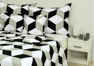 8-dílné povlečení s polštářky Bílo-černo-šedivá abstrakce (bavlna medium)