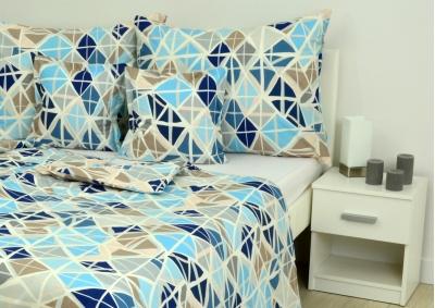 8-dílné povlečení s polštářky Modrá mozaika (bavlna medium)