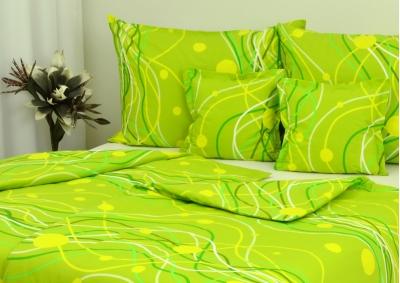 8-dílné povlečení s polštářky Zelené vlnky (bavlna LUX)