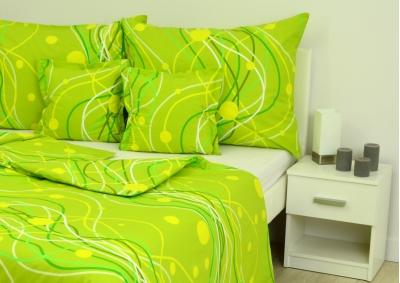 Bavlněné povlečení LUX Zelené vlnky