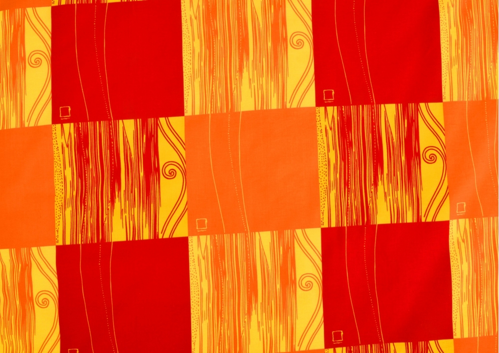 Červeno oranžová kostka bavlna lux metráž
