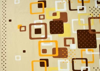 Hnědo oranžové kostky bavlna lux metráž