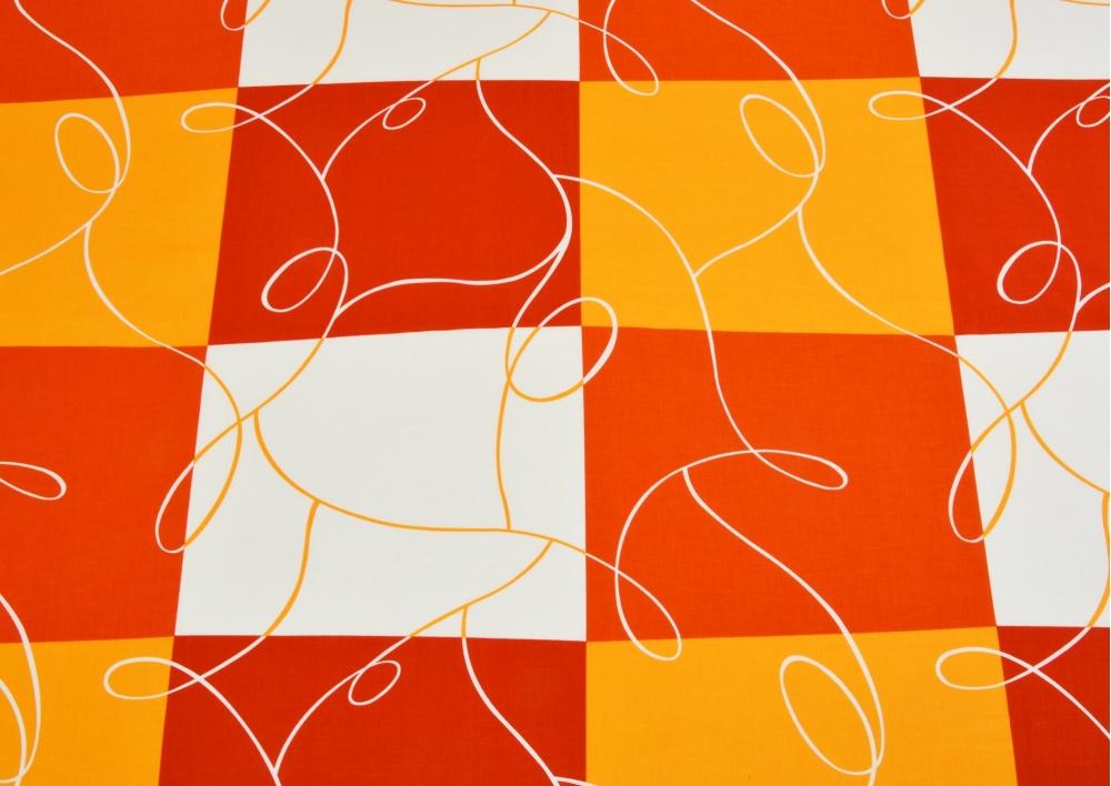 Oranžová šachovnice bavlna lux metráž