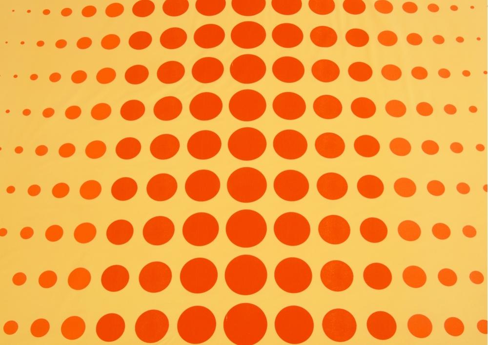 Planety na oranžovém podkladu bavlna lux metráž