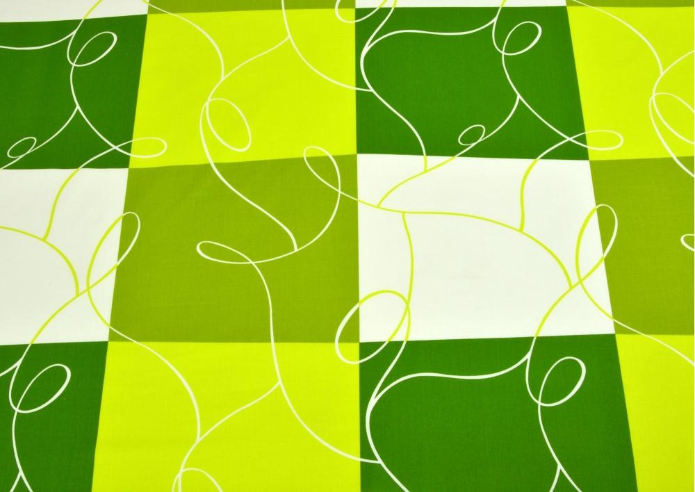 Zelená šachovnice bavlna lux metráž