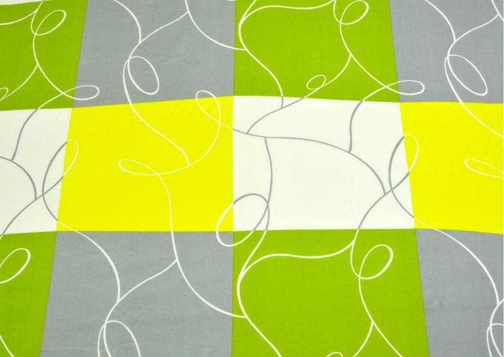 Zelená šachovnice s šedivou kostkou bavlna lux metráž