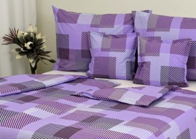 8-dílné povlečení s polštářky Proužkované kostky fialové (bavlna LUX)