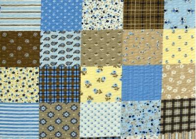 Modrý patchwork  ( krep lux ) metráž