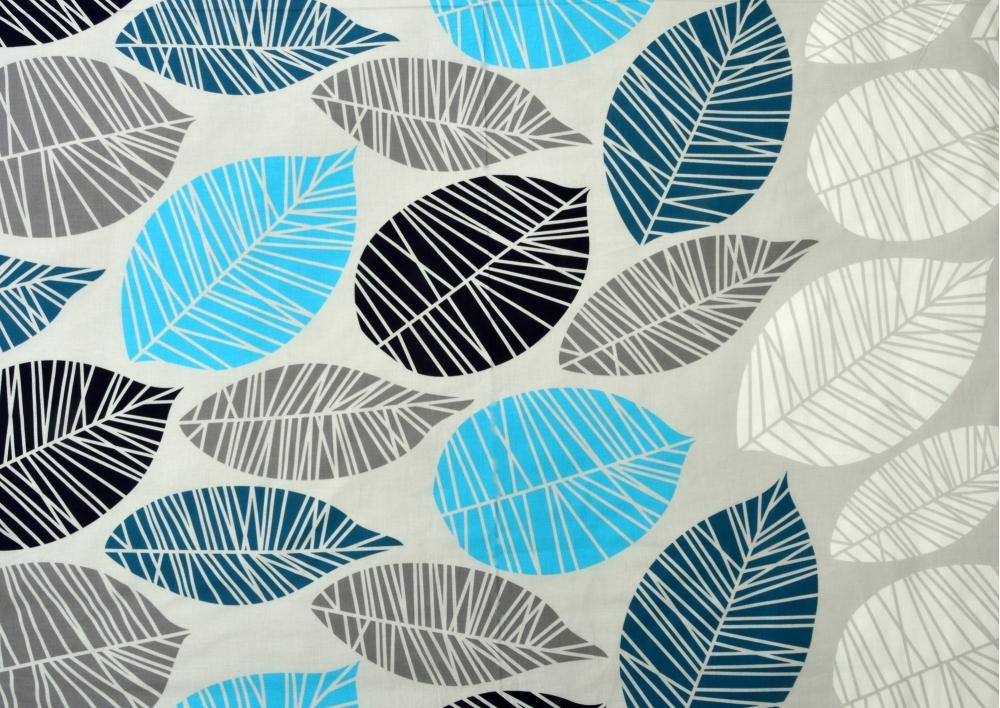 Modré listy bavlna lux metráž