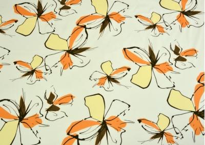 Béžová s oranžovou kytkou bavlna lux metráž