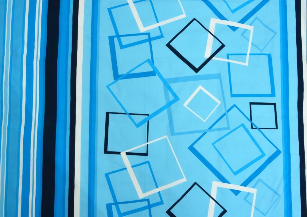 Modré obrazce bavlna lux metráž