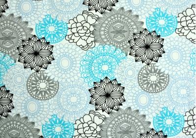 Tyrkysové ornamenty bavlna lux metráž