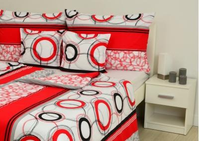8-dílné povlečení s polštářky Bílo červená kola (bavlna medium)