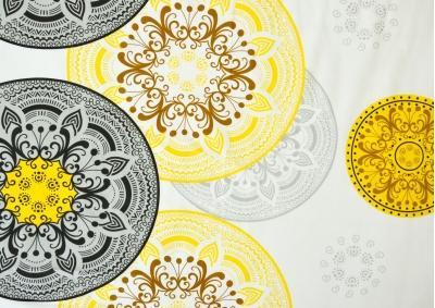 Bavlněné povlečení Šedivá kytka se žlutým vzorem