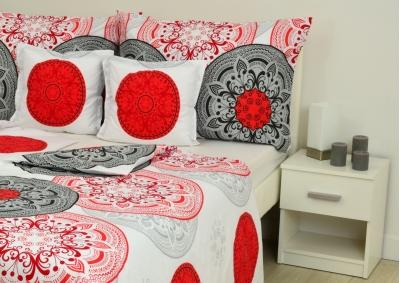 Bavlněné povlečení Šedivá kytka s červeným vzorem