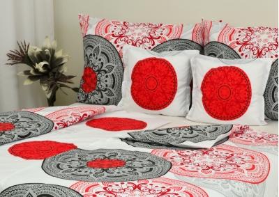 6-ti dílné ložní povlečení Šedivá kytka s červeným vzorem (Bavlna 135g)