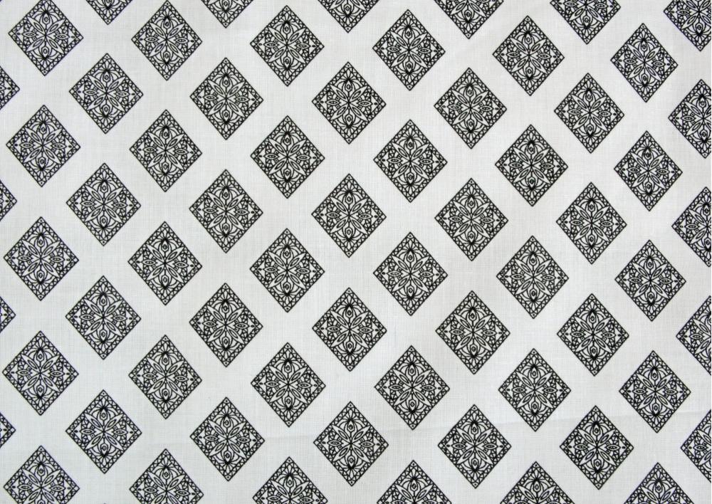 Oboustranná černobílá kombinace ( na bílém podkladu ) bavlna  metráž