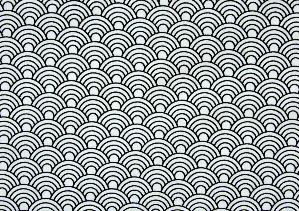 Oboustranný černobílý vzor ( na bílém podkladu )  bavlna  metráž