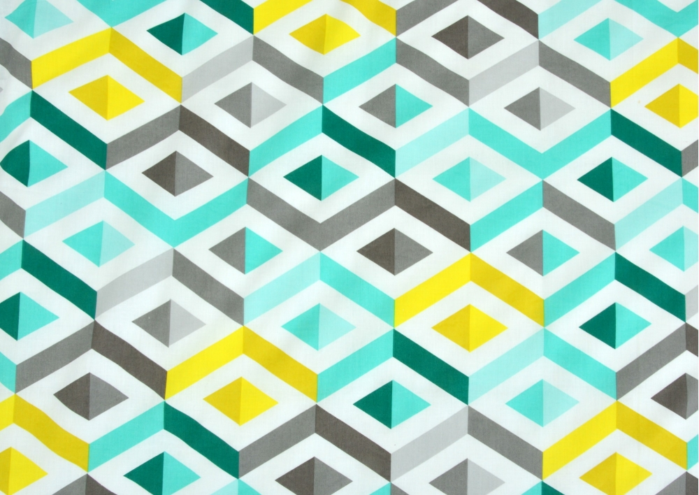 Žluto-šedivo-zelenkavé vlnky bavlna  metráž