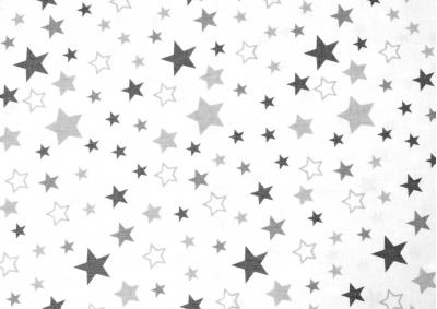 Šedé hvězdy ( na bílém podkladu ) bavlna  metráž