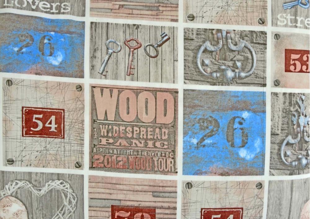 Srdce a klíče s modrým čtvercem bavlna metráž