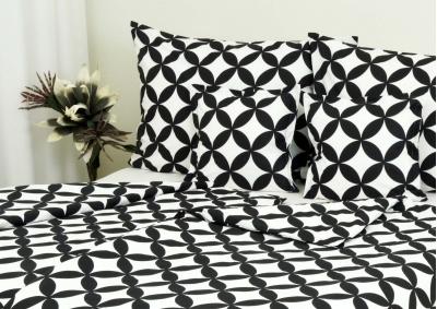 8-dílné povlečení s polštářky Černé lístky na bílém (bavlna medium)