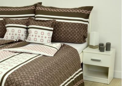 8-dílné povlečení s polštářky Hnědorůžová elegance  (bavlna LUX)