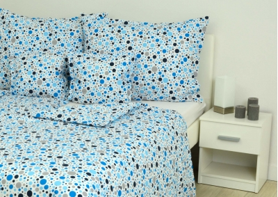 8-dílné povlečení s polštářky Modrý a šedivý puntík na bílém podkladu  (bavlna LUX)