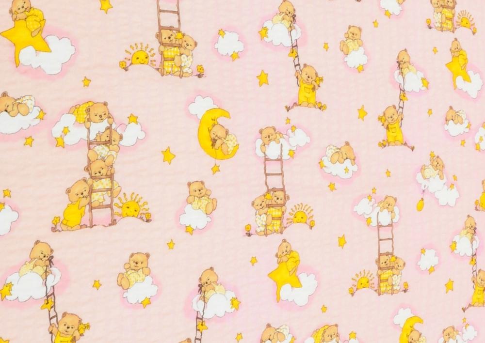 Medvídek na žebříku růžový  II. Jakost (dětský krep) metráž