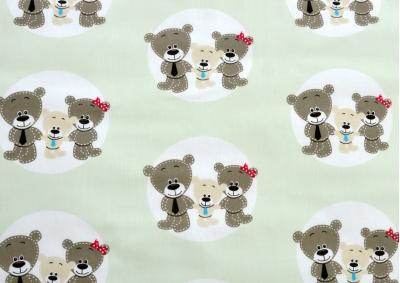 Medvídek v kolečku zelenkavá (dětská bavlna) metráž