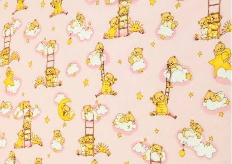 Medvídek na žebříku růžový (dětská bavlna) metráž