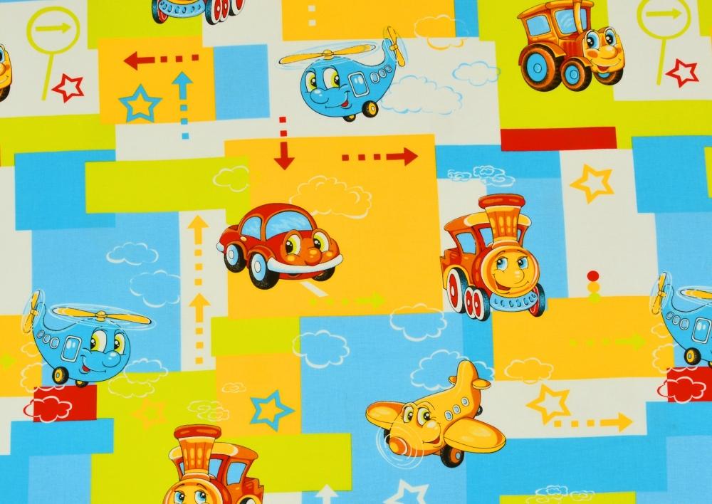 Mašinka a letadla (dětská bavlna) metráž