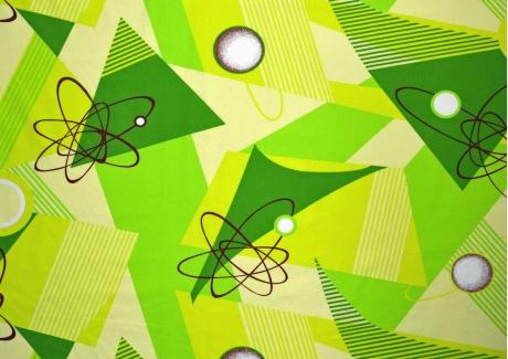 Zelená geometrie bavlna metráž