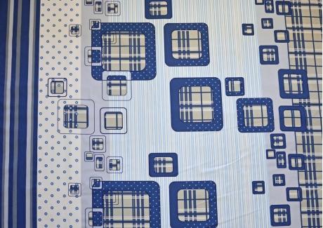 Modré kostky bavlna  metráž