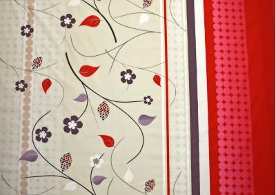Béžová s červeným pruhem a kytičkami bavlna metráž