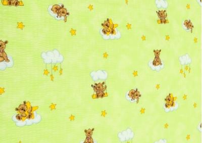 Medvídek na houpačce zelený (dětský krep)