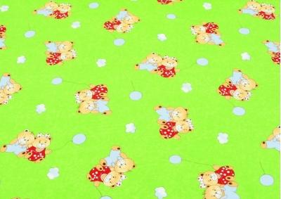 Zelený medvídek s balónkem (dětská bavlna)
