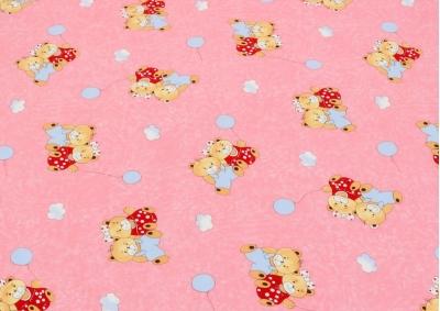 Růžový medvídek s balónkem  (dětská bavlna)