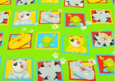 Zvířátka zelená v kostce (dětská bavlna)