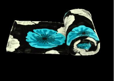 Mikroplyšová deka - Černá s kytkami