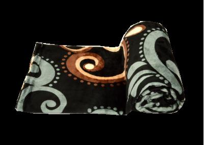 Mikroplyšová deka - Černo šedo hnědý vzor