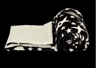 Mikroplyšová deka s beránkem - Černá s bílými hvězdami