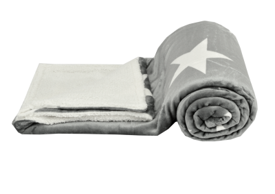 Mikroplyšová deka s beránkem - Šedivá s bílými hvězdami